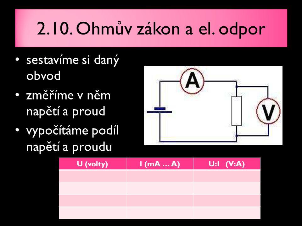 sestavíme si daný obvod změříme v něm napětí a proud vypočítáme podíl napětí a proudu 2.10. Ohmův zákon a el. odpor U (volty)I (mA … A)U:I (V:A)