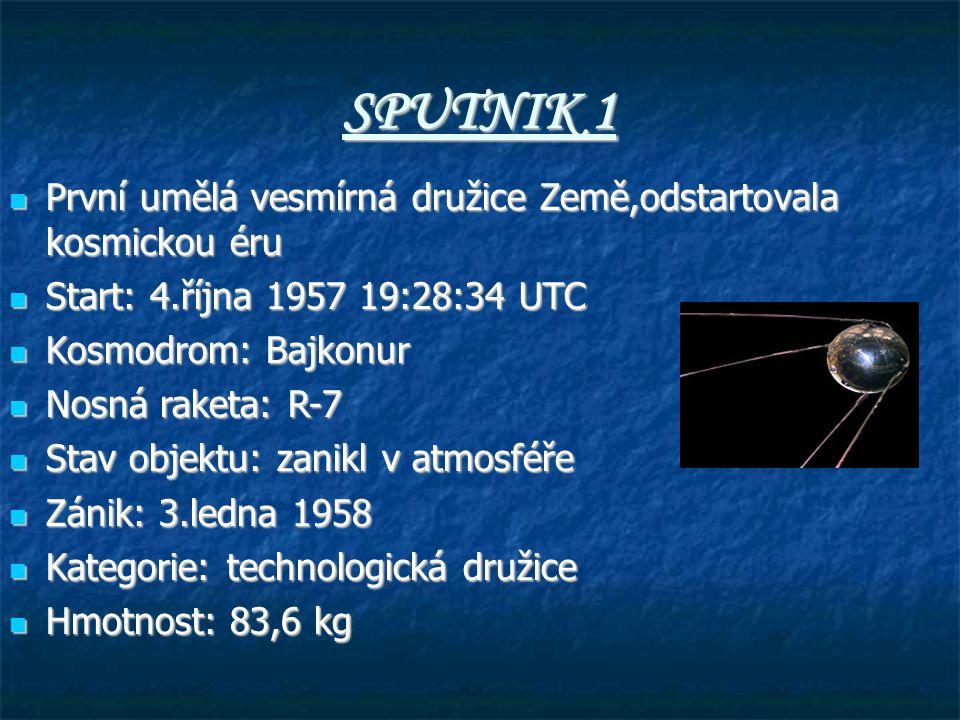 SPUTNIK 1 První umělá vesmírná družice Země,odstartovala kosmickou éru První umělá vesmírná družice Země,odstartovala kosmickou éru Start: 4.října 1957 19:28:34 UTC Start: 4.října 1957 19:28:34 UTC Kosmodrom: Bajkonur Kosmodrom: Bajkonur Nosná raketa: R-7 Nosná raketa: R-7 Stav objektu: zanikl v atmosféře Stav objektu: zanikl v atmosféře Zánik: 3.ledna 1958 Zánik: 3.ledna 1958 Kategorie: technologická družice Kategorie: technologická družice Hmotnost: 83,6 kg Hmotnost: 83,6 kg