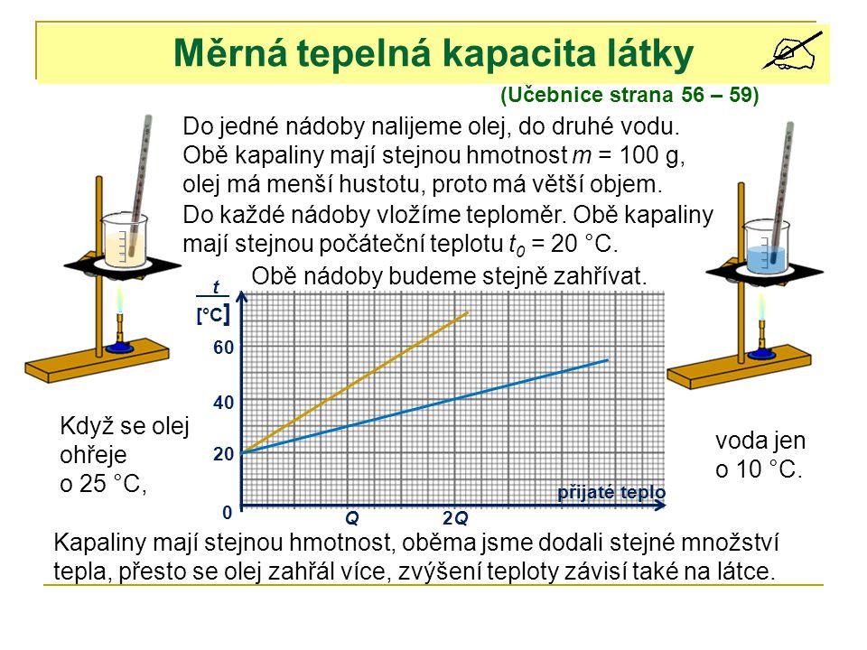 Měrná tepelná kapacita látky (Učebnice strana 56 – 59) Do jedné nádoby nalijeme olej, do druhé vodu.