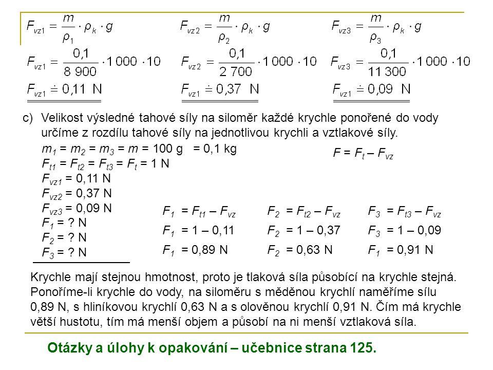 c)Velikost výsledné tahové síly na siloměr každé krychle ponořené do vody určíme z rozdílu tahové síly na jednotlivou krychli a vztlakové síly. m 1 =