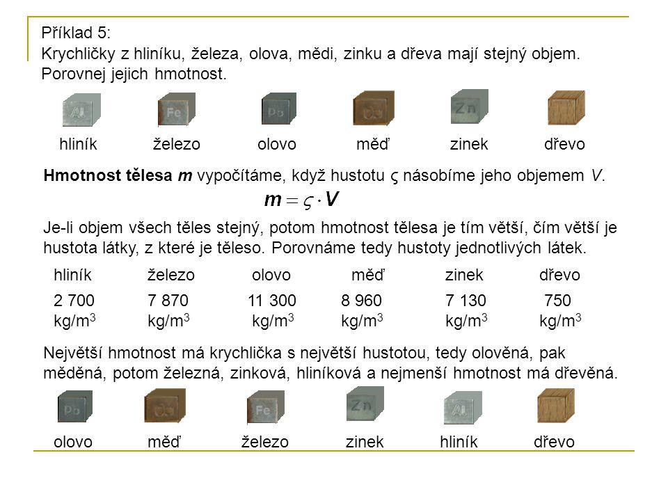 Krychličky z hliníku, železa, olova, mědi, zinku a dřeva mají stejný objem. Porovnej jejich hmotnost. hliníkželezoolovoměďzinekdřevo Příklad 5: Hmotno