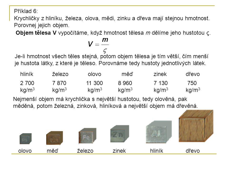Krychličky z hliníku, železa, olova, mědi, zinku a dřeva mají stejnou hmotnost. Porovnej jejich objem. Příklad 6: Je-li hmotnost všech těles stejná, p