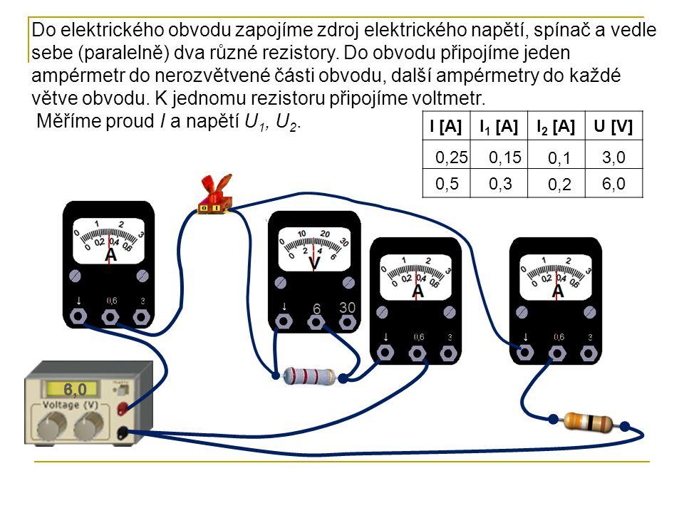 6 30 Měříme proud I a napětí U 1, U 2. I [A]I 1 [A]I 2 [A]U [V] 0,25 0,5 0,15 0,3 Do elektrického obvodu zapojíme zdroj elektrického napětí, spínač a