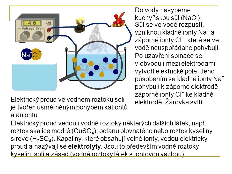 Do vody nasypeme kuchyňskou sůl (NaCl). Cl ¯ Na + Sůl se ve vodě rozpustí, vzniknou kladné ionty Na + a záporné ionty Cl ‒, které se ve vodě neuspořád