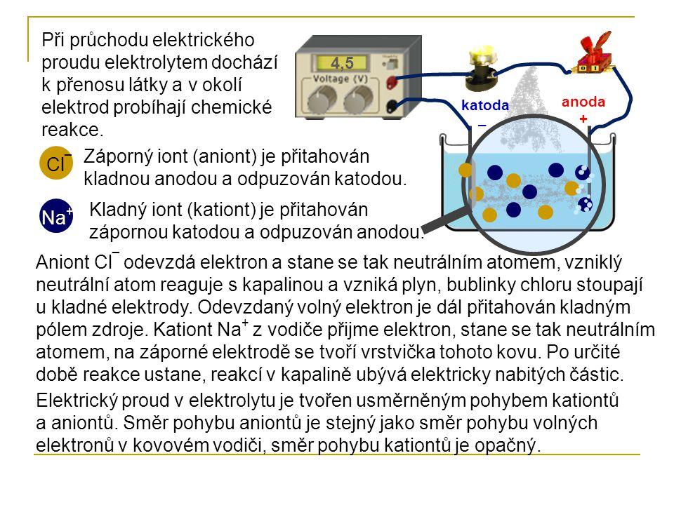 Při průchodu elektrického proudu elektrolytem dochází k přenosu látky a v okolí elektrod probíhají chemické reakce. 4,5 Cl ¯ Na + anoda + katoda – Záp