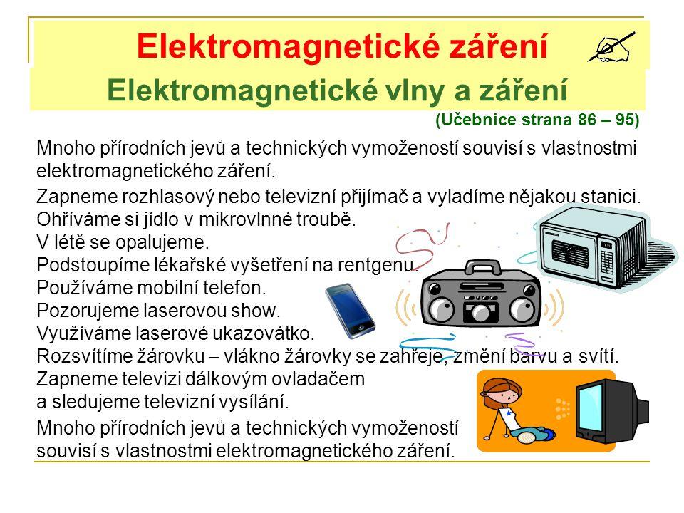 Elektromagnetické vlny a záření Elektromagnetické záření (Učebnice strana 86 – 95) Mnoho přírodních jevů a technických vymožeností souvisí s vlastnostmi elektromagnetického záření.