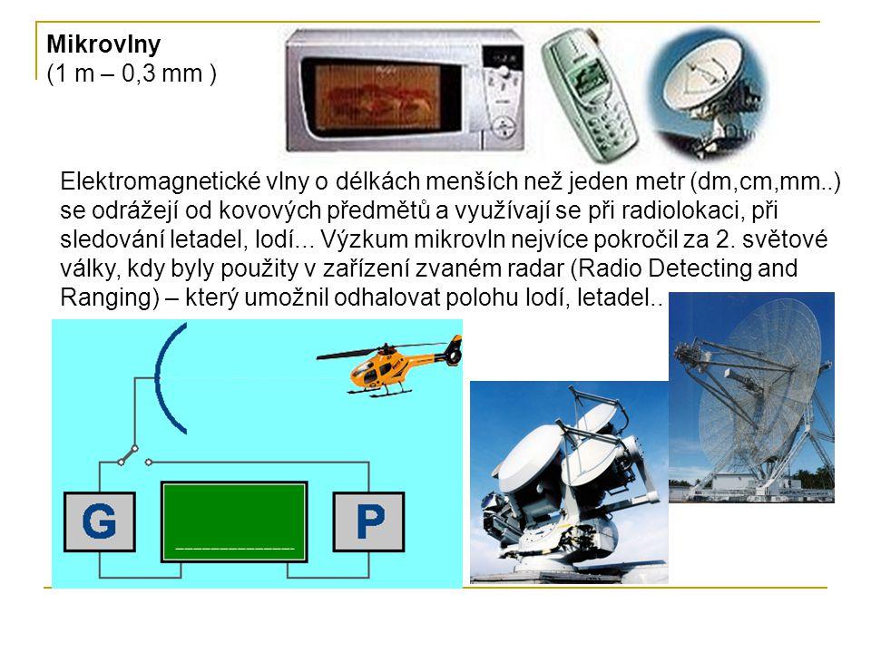 Mikrovlny (1 m – 0,3 mm ) Elektromagnetické vlny o délkách menších než jeden metr (dm,cm,mm..) se odrážejí od kovových předmětů a využívají se při radiolokaci, při sledování letadel, lodí...