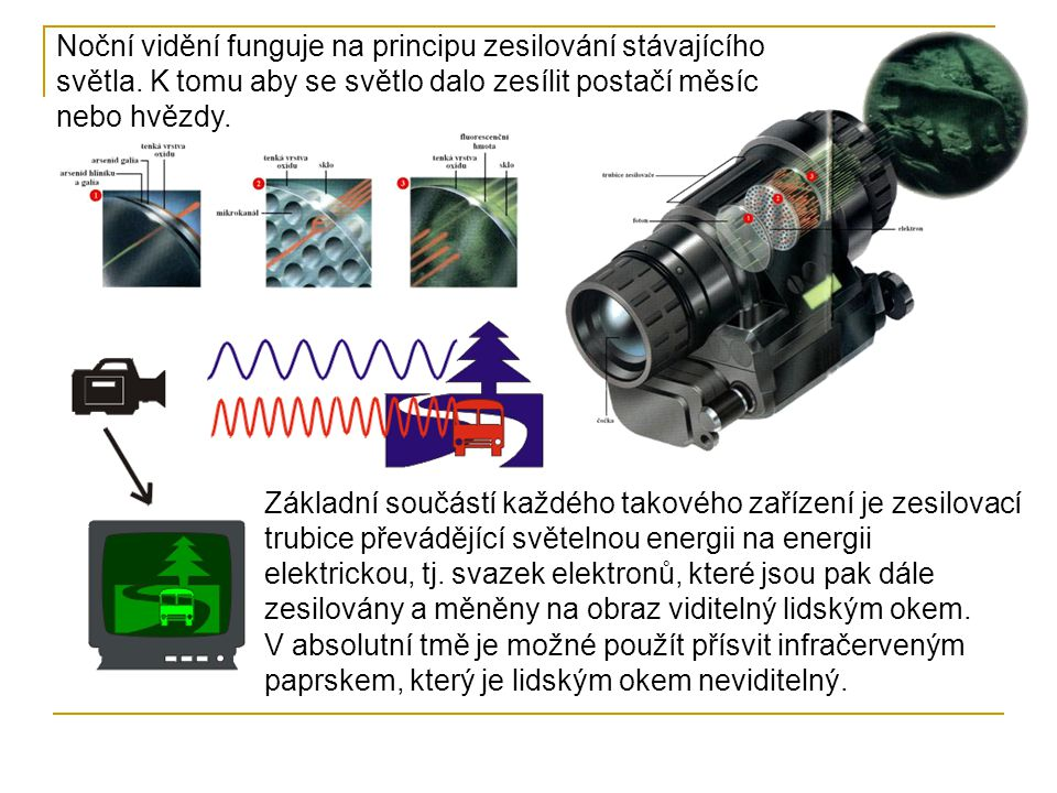Základní součástí každého takového zařízení je zesilovací trubice převádějící světelnou energii na energii elektrickou, tj.