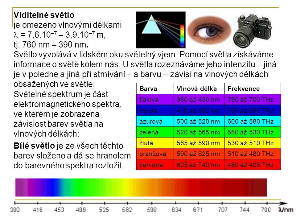 Viditelné světlo je omezeno vlnovými délkami = 7,6.10 –7 – 3,9.10 –7 m, tj.