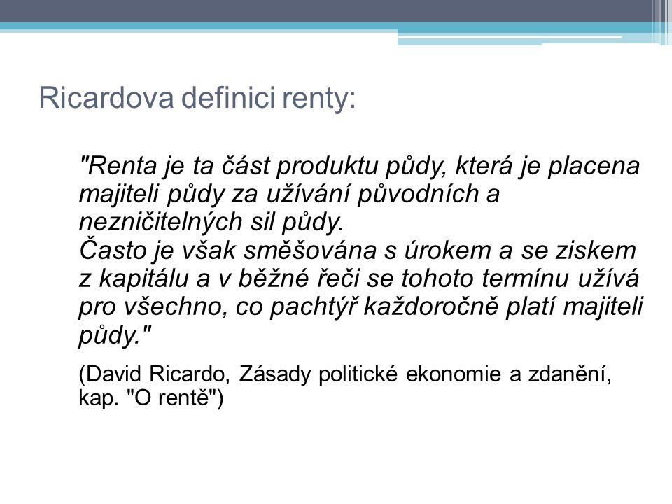 Ricardova definici renty: