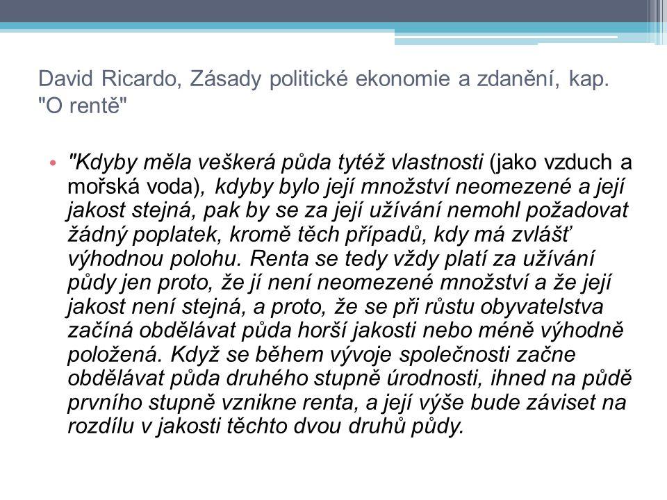 David Ricardo, Zásady politické ekonomie a zdanění, kap.