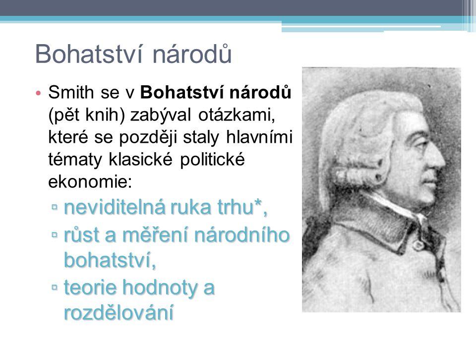 Bohatství národů Smith se v Bohatství národů (pět knih) zabýval otázkami, které se později staly hlavními tématy klasické politické ekonomie: ▫ nevidi