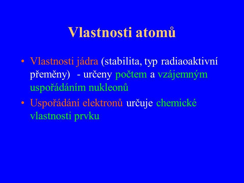 Vlastnosti atomů Vlastnosti jádra (stabilita, typ radiaoaktivní přeměny) - určeny počtem a vzájemným uspořádáním nukleonů Uspořádání elektronů určuje