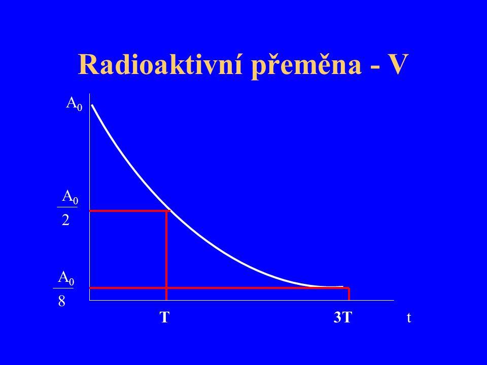 Radioaktivní přeměna - V t A0A0 A0A0 A0A0 8 2 T3T