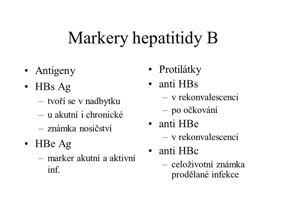 Markery hepatitidy B Antigeny HBs Ag –tvoří se v nadbytku –u akutní i chronické –známka nosičství HBe Ag –marker akutní a aktivní inf. Protilátky anti