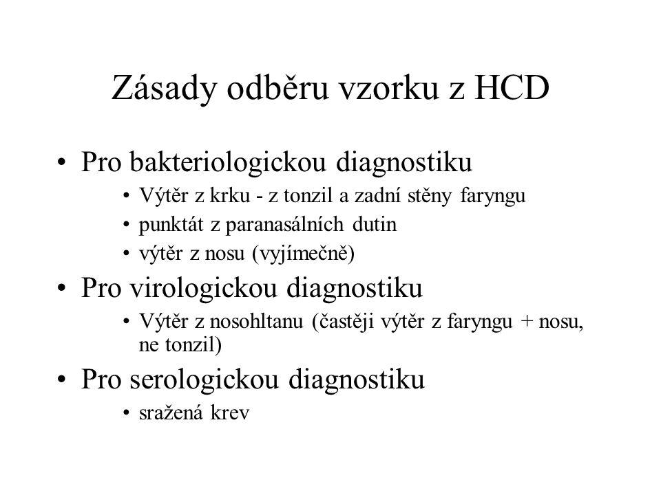 Zásady odběru vzorku z HCD Pro bakteriologickou diagnostiku Výtěr z krku - z tonzil a zadní stěny faryngu punktát z paranasálních dutin výtěr z nosu (