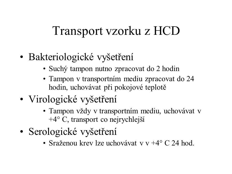 Transport vzorku z HCD Bakteriologické vyšetření Suchý tampon nutno zpracovat do 2 hodin Tampon v transportním mediu zpracovat do 24 hodin, uchovávat