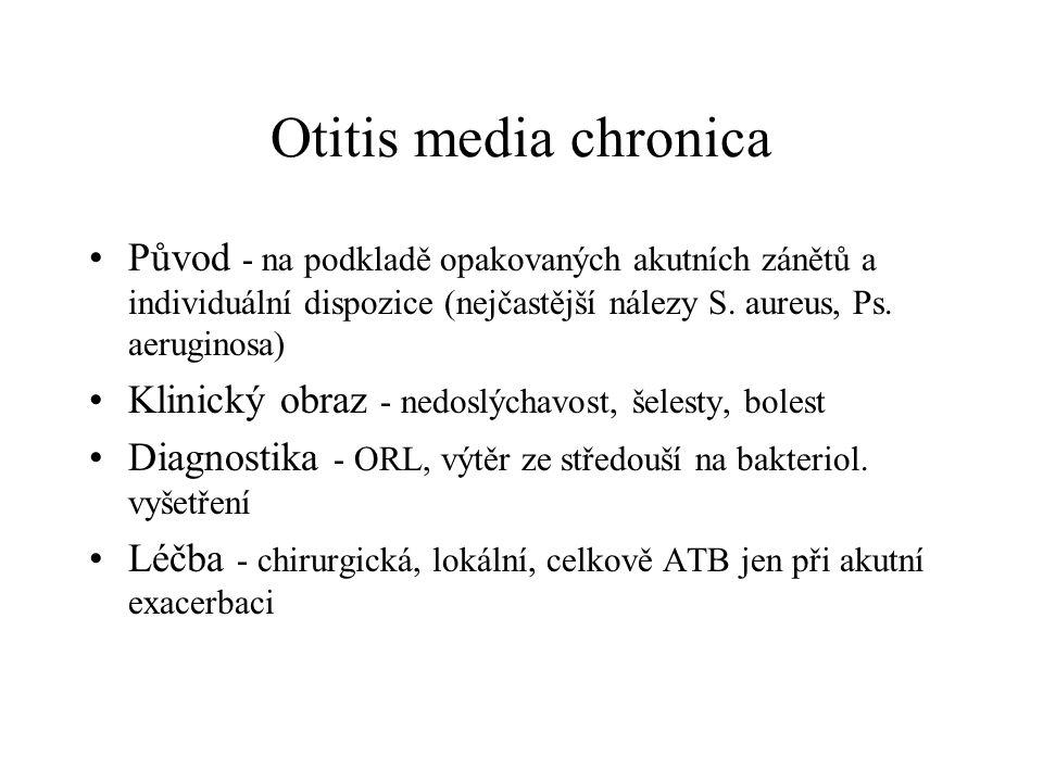 Otitis media chronica Původ - na podkladě opakovaných akutních zánětů a individuální dispozice (nejčastější nálezy S. aureus, Ps. aeruginosa) Klinický