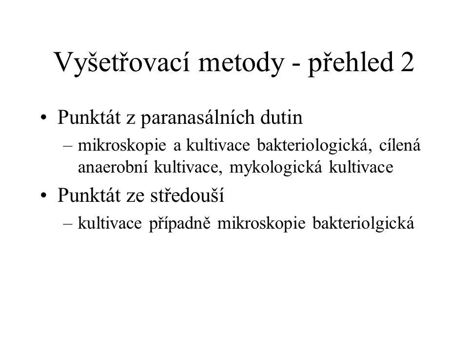 Vyšetřovací metody - přehled 2 Punktát z paranasálních dutin –mikroskopie a kultivace bakteriologická, cílená anaerobní kultivace, mykologická kultiva