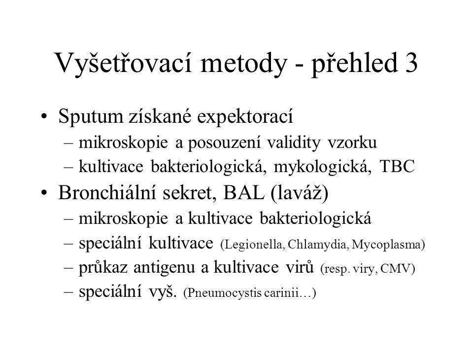Vyšetřovací metody - přehled 3 Sputum získané expektorací –mikroskopie a posouzení validity vzorku –kultivace bakteriologická, mykologická, TBC Bronch
