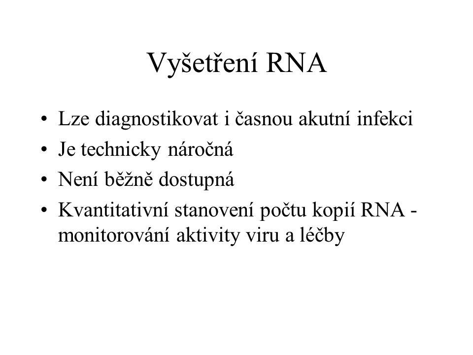 Vyšetření RNA Lze diagnostikovat i časnou akutní infekci Je technicky náročná Není běžně dostupná Kvantitativní stanovení počtu kopií RNA - monitorová