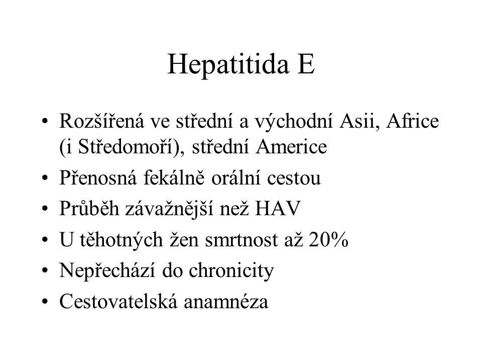 Hepatitida E Rozšířená ve střední a východní Asii, Africe (i Středomoří), střední Americe Přenosná fekálně orální cestou Průběh závažnější než HAV U t