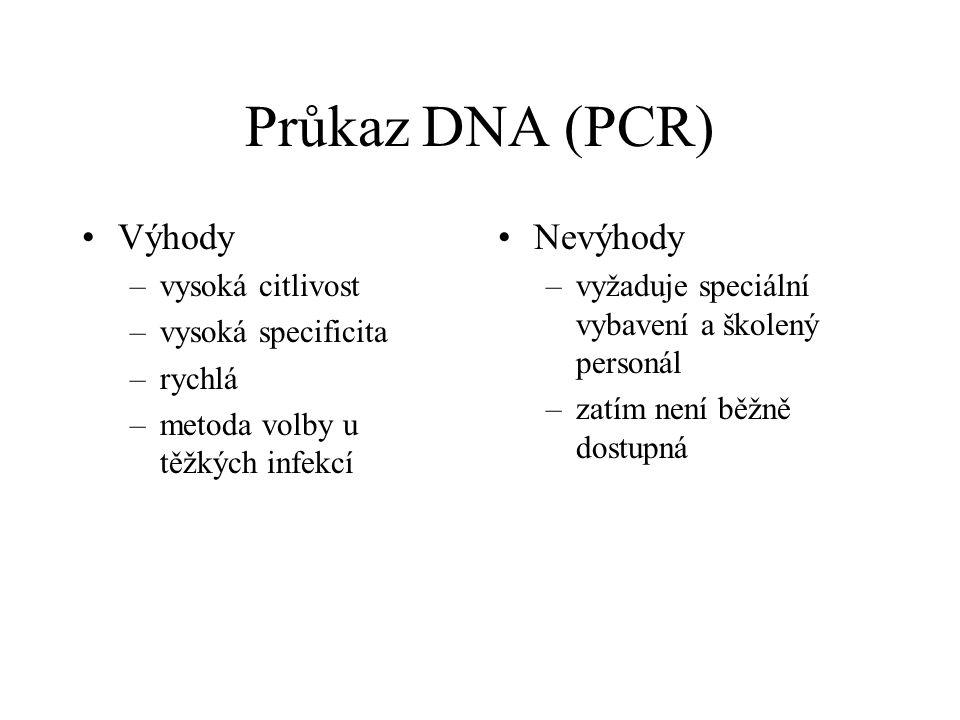 Průkaz DNA (PCR) Výhody –vysoká citlivost –vysoká specificita –rychlá –metoda volby u těžkých infekcí Nevýhody –vyžaduje speciální vybavení a školený
