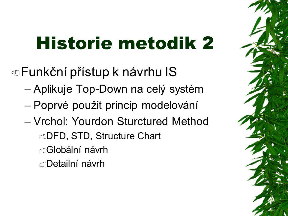 Historie metodik 2  Funkční přístup k návrhu IS –Aplikuje Top-Down na celý systém –Poprvé použit princip modelování –Vrchol: Yourdon Sturctured Method  DFD, STD, Structure Chart  Globální návrh  Detailní návrh