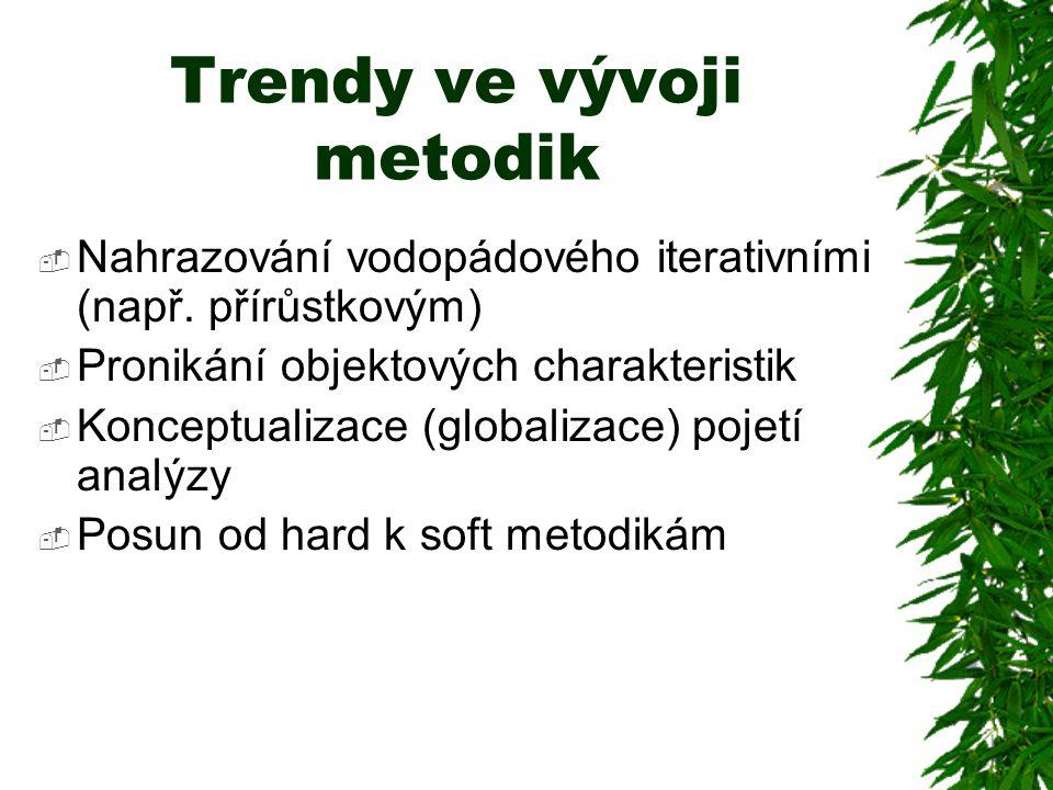Trendy ve vývoji metodik  Nahrazování vodopádového iterativními (např.