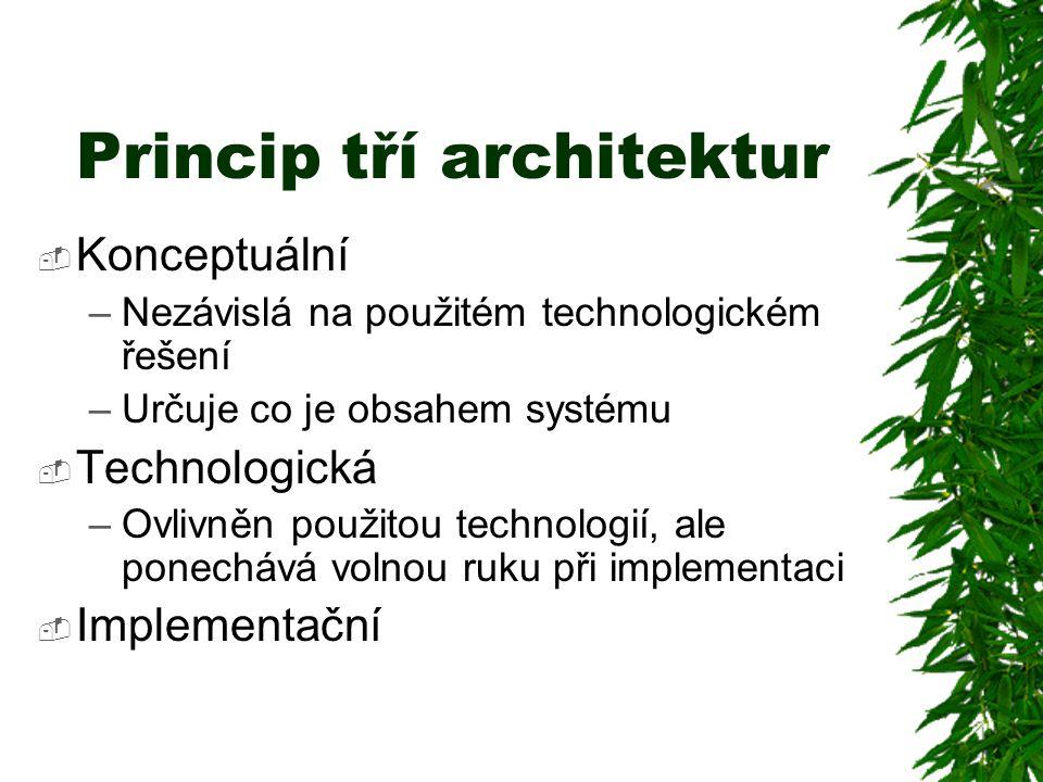 Princip tří architektur  Konceptuální –Nezávislá na použitém technologickém řešení –Určuje co je obsahem systému  Technologická –Ovlivněn použitou technologií, ale ponechává volnou ruku při implementaci  Implementační