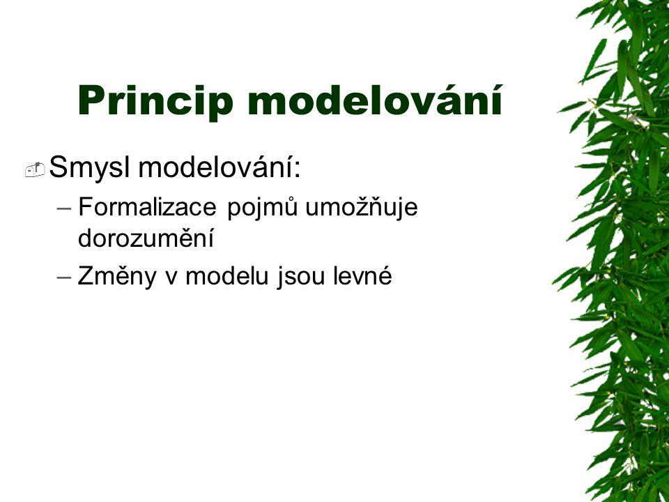 Princip modelování  Smysl modelování: –Formalizace pojmů umožňuje dorozumění –Změny v modelu jsou levné