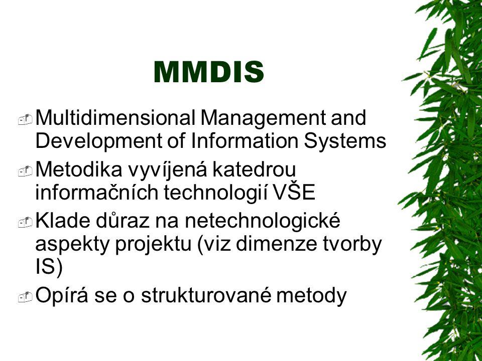 MMDIS  Multidimensional Management and Development of Information Systems  Metodika vyvíjená katedrou informačních technologií VŠE  Klade důraz na netechnologické aspekty projektu (viz dimenze tvorby IS)  Opírá se o strukturované metody