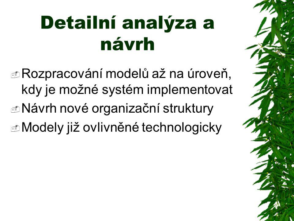 Detailní analýza a návrh  Rozpracování modelů až na úroveň, kdy je možné systém implementovat  Návrh nové organizační struktury  Modely již ovlivněné technologicky