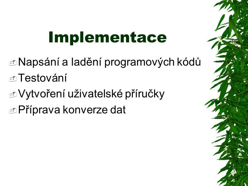 Implementace  Napsání a ladění programových kódů  Testování  Vytvoření uživatelské příručky  Příprava konverze dat