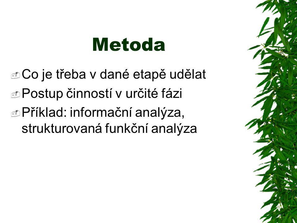 Metoda  Co je třeba v dané etapě udělat  Postup činností v určité fázi  Příklad: informační analýza, strukturovaná funkční analýza