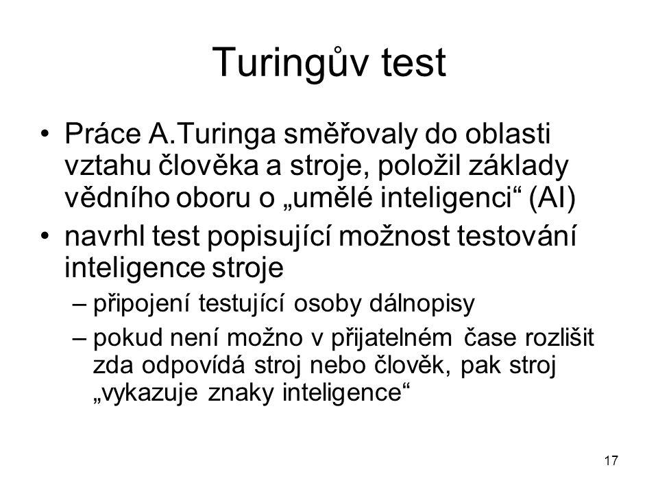 """Turingův test Práce A.Turinga směřovaly do oblasti vztahu člověka a stroje, položil základy vědního oboru o """"umělé inteligenci"""" (AI) navrhl test popis"""