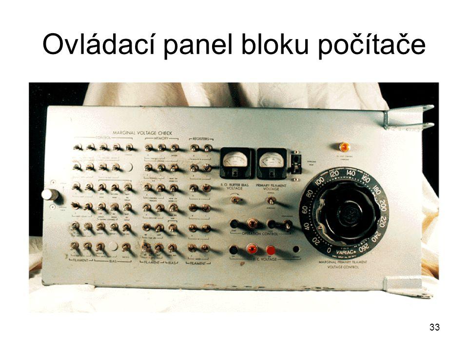 Ovládací panel bloku počítače 33