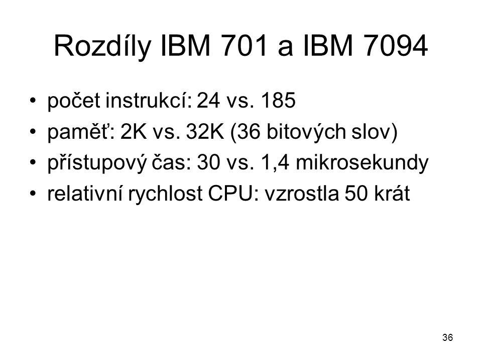 Rozdíly IBM 701 a IBM 7094 počet instrukcí: 24 vs. 185 paměť: 2K vs. 32K (36 bitových slov) přístupový čas: 30 vs. 1,4 mikrosekundy relativní rychlost