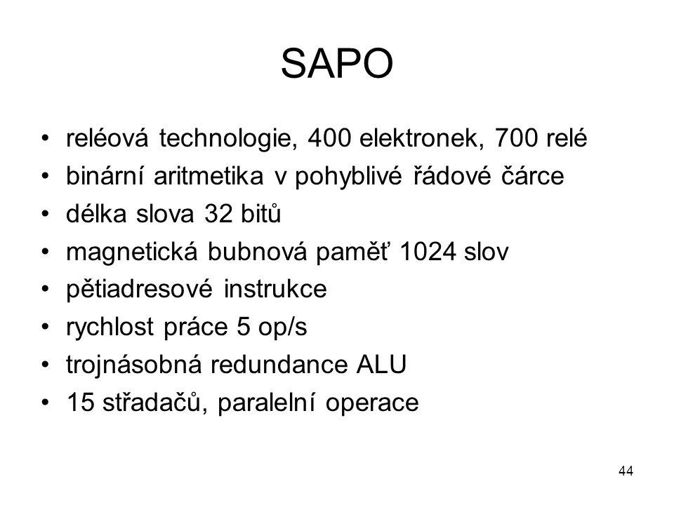 SAPO reléová technologie, 400 elektronek, 700 relé binární aritmetika v pohyblivé řádové čárce délka slova 32 bitů magnetická bubnová paměť 1024 slov