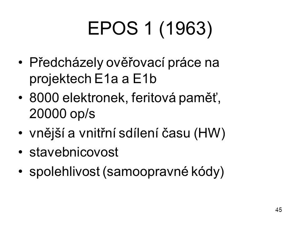 EPOS 1 (1963) Předcházely ověřovací práce na projektech E1a a E1b 8000 elektronek, feritová paměť, 20000 op/s vnější a vnitřní sdílení času (HW) stave