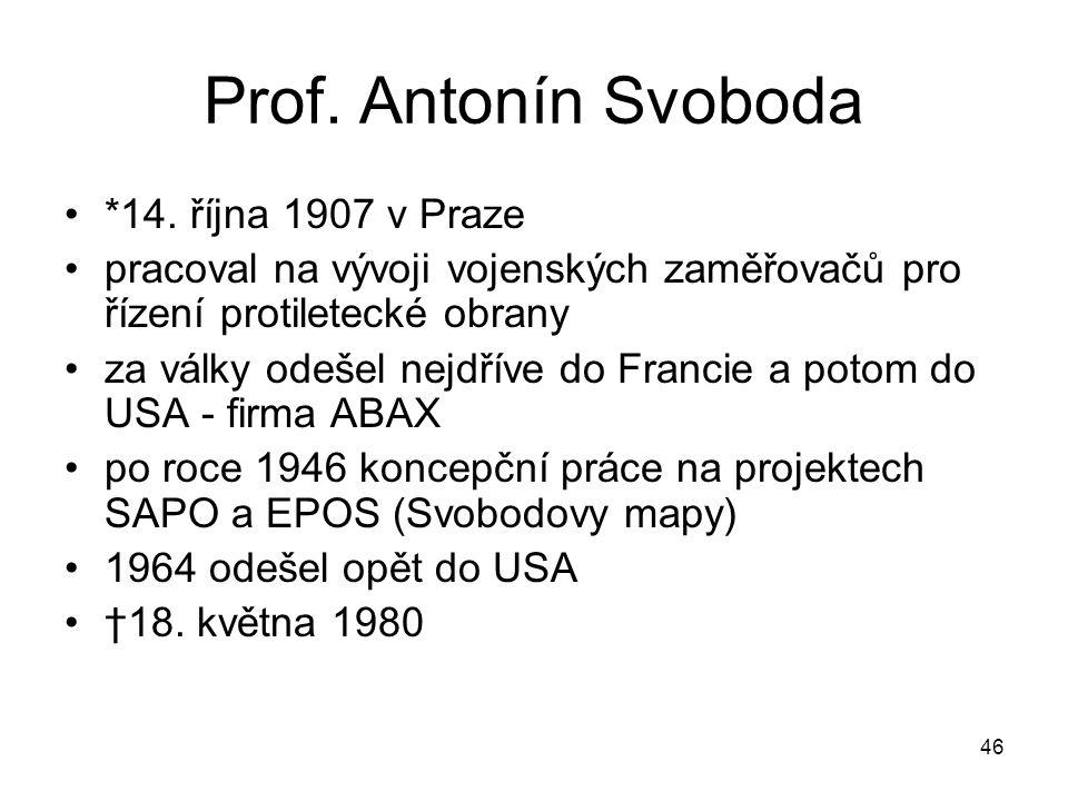 Prof. Antonín Svoboda *14. října 1907 v Praze pracoval na vývoji vojenských zaměřovačů pro řízení protiletecké obrany za války odešel nejdříve do Fran