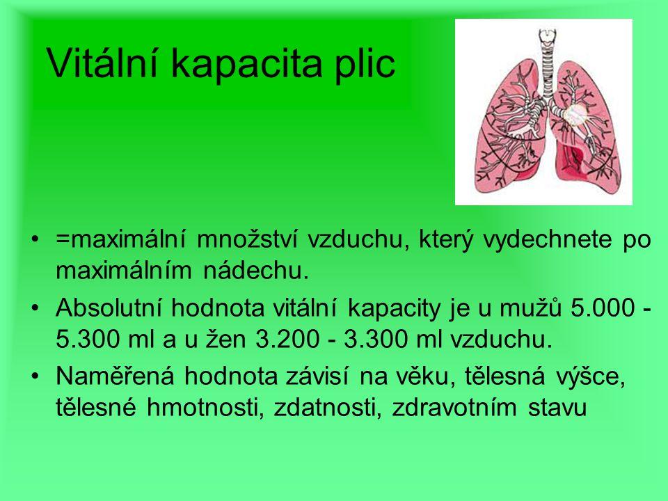 Vitální kapacita plic =maximální množství vzduchu, který vydechnete po maximálním nádechu. Absolutní hodnota vitální kapacity je u mužů 5.000 - 5.300