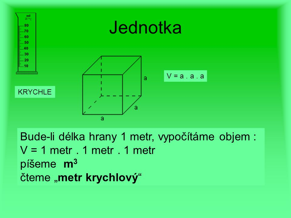 "Jednotka V = a. a. a Bude-li délka hrany 1 metr, vypočítáme objem : V = 1 metr. 1 metr. 1 metr píšeme m 3 čteme ""metr krychlový"" KRYCHLE"
