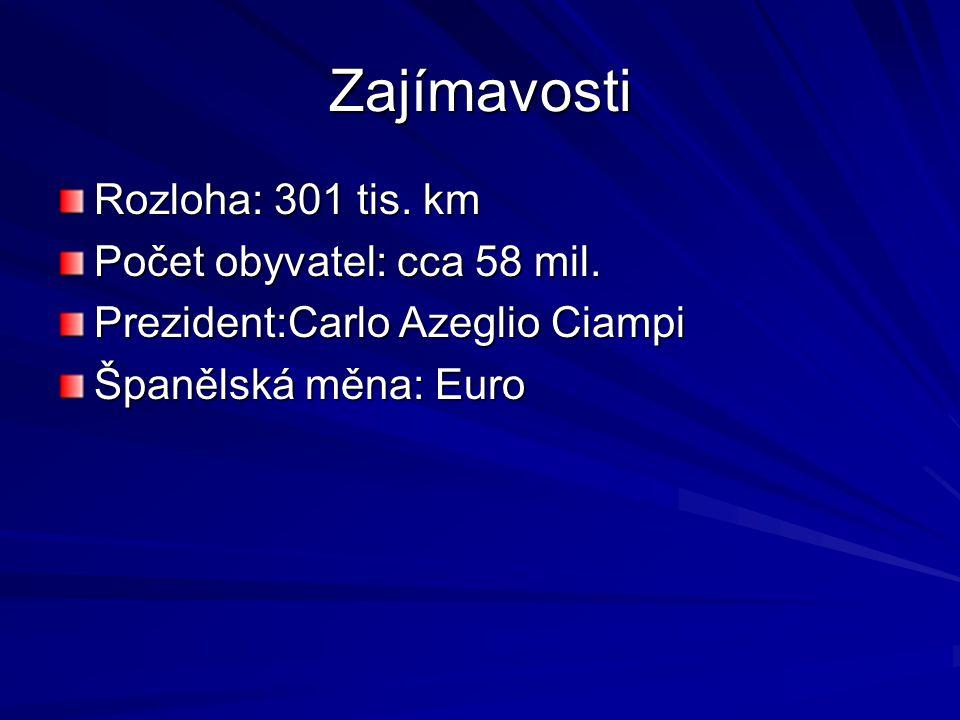 Zajímavosti Rozloha: 301 tis. km Počet obyvatel: cca 58 mil. Prezident:Carlo Azeglio Ciampi Španělská měna: Euro