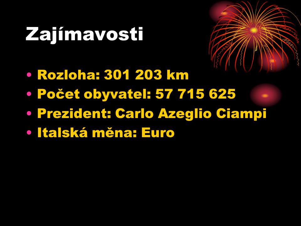 Zajímavosti Rozloha: 301 203 km Počet obyvatel: 57 715 625 Prezident: Carlo Azeglio Ciampi Italská měna: Euro