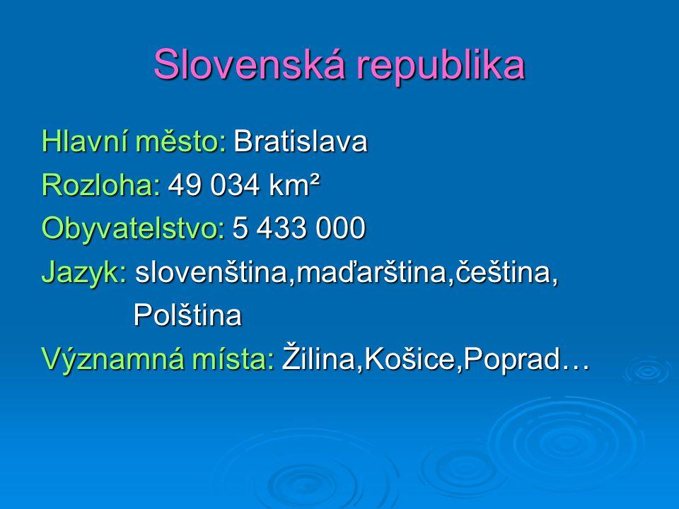 Slovenská republika Hlavní město: Bratislava Rozloha: 49 034 km² Obyvatelstvo: 5 433 000 Jazyk: slovenština,maďarština,čeština, Polština Významná míst
