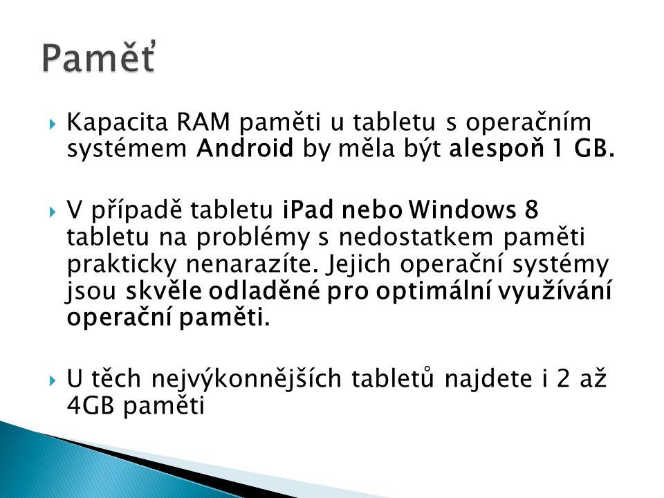  Kapacita RAM paměti u tabletu s operačním systémem Android by měla být alespoň 1 GB.