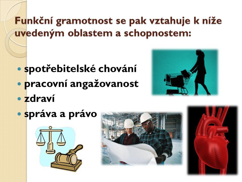 Funkční gramotnost se pak vztahuje k níže uvedeným oblastem a schopnostem: spotřebitelské chování pracovní angažovanost zdraví správa a právo