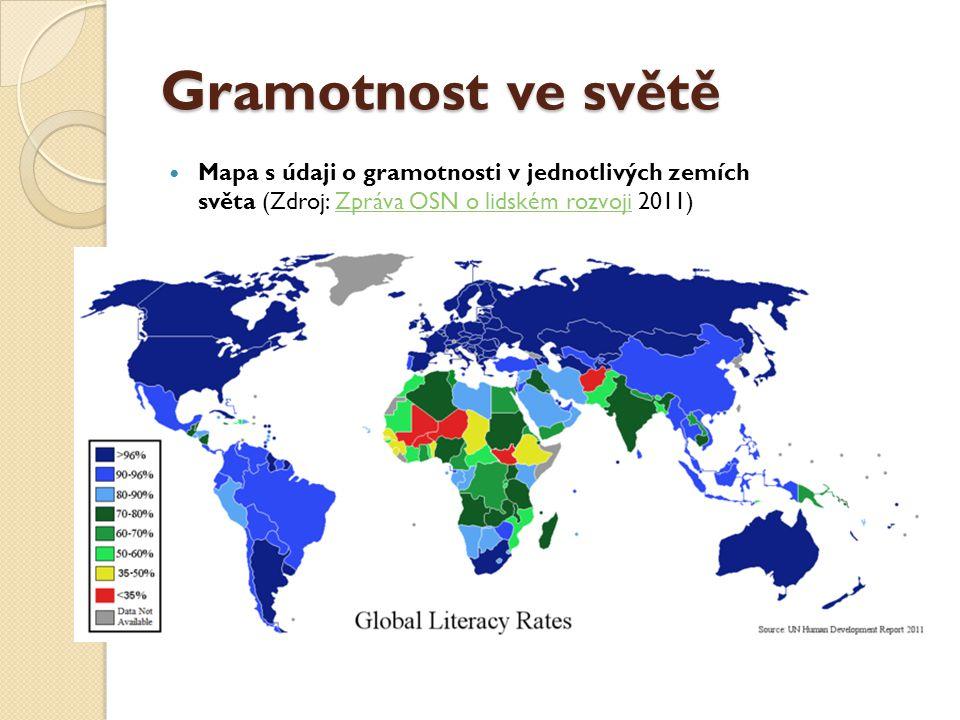Gramotnost ve světě Mapa s údaji o gramotnosti v jednotlivých zemích světa (Zdroj: Zpráva OSN o lidském rozvoji 2011)Zpráva OSN o lidském rozvoji