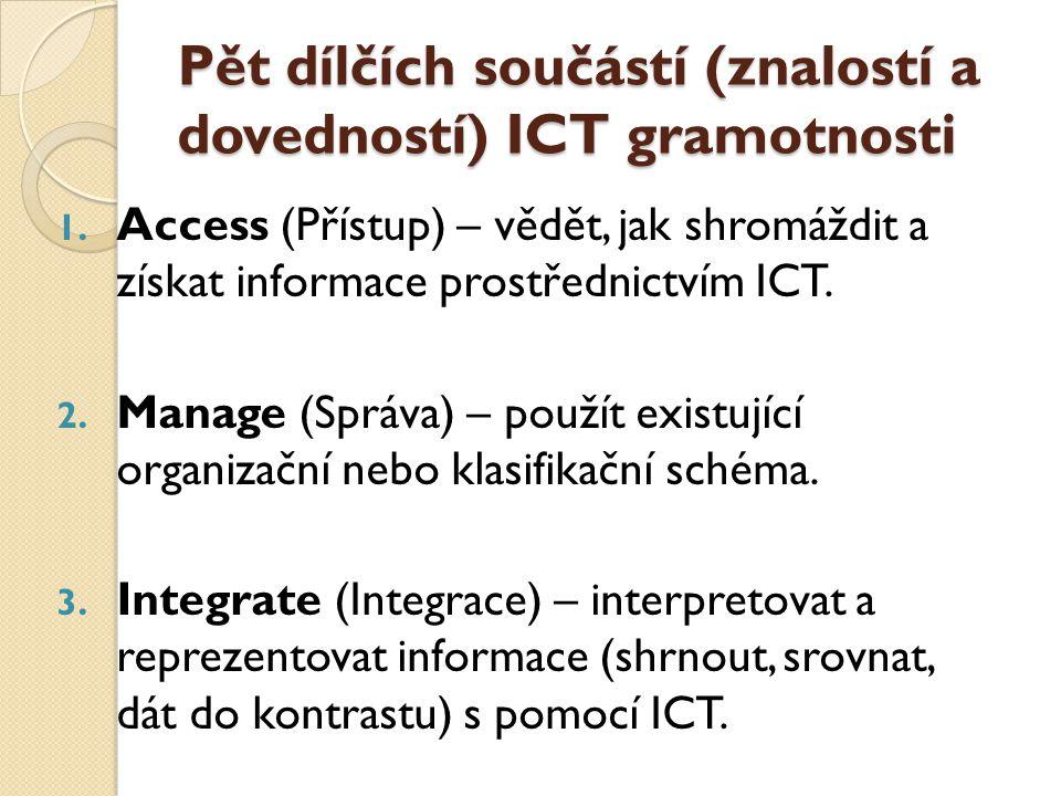 Pět dílčích součástí (znalostí a dovedností) ICT gramotnosti 1.
